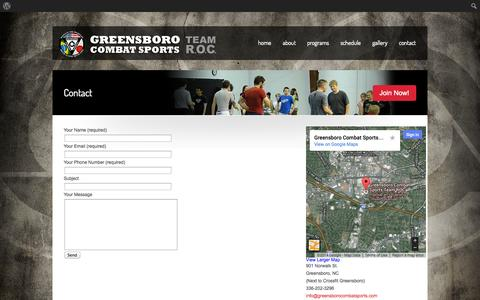 Screenshot of Contact Page greensborocombatsports.com - Contact «  Greensboro Combat Sports MMA - captured Oct. 3, 2014