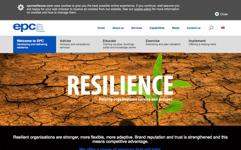Screenshot of Home Page epcresilience.com - Developing and Delivering Resilience  - EPC - captured June 19, 2015