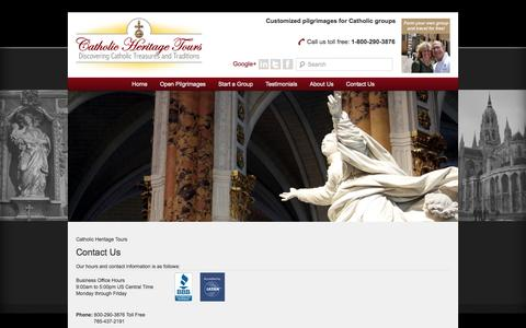 Screenshot of Contact Page catholicheritagetours.com - Contact Us | Catholic Heritage Tours - captured Sept. 29, 2014