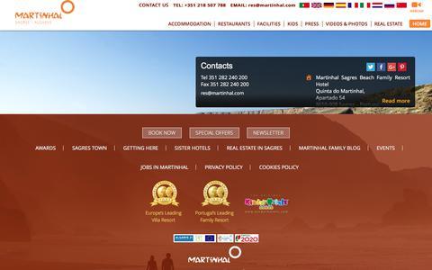 Screenshot of Contact Page martinhal.com - Contacts - Martinhal Sagres Beach Family Resort Hotel - captured Sept. 23, 2018