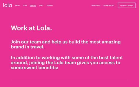 Screenshot of Jobs Page lola.app - Lola: Work with us - captured Nov. 3, 2018