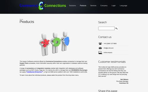 Screenshot of Products Page commerce-connections.com - Products | Commerce-Connections | EDI B2B VAN provider - captured Oct. 2, 2014