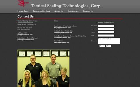 Screenshot of Contact Page tacticalsealing.com - Tactical Sealing Technologies, Precision Machining - captured Oct. 27, 2014