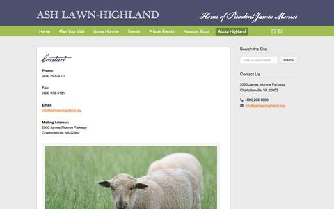 Screenshot of Contact Page ashlawnhighland.org - Ash Lawn-Highland  – Contact - captured Sept. 30, 2014