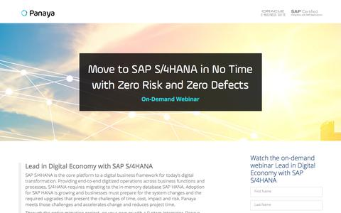 Screenshot of Landing Page panaya.com - S4HANA Upgrade Now - captured July 20, 2018