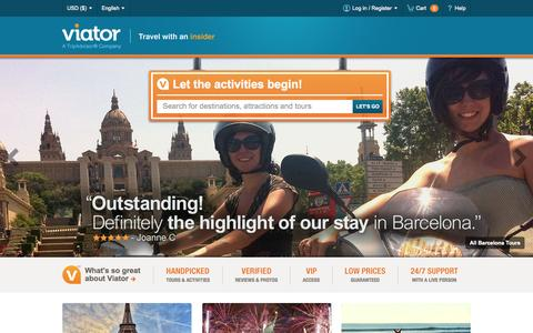 Screenshot of Home Page viator.com - Tours, sightseeing tours, activities & things to do | Viator.com - captured Oct. 29, 2015
