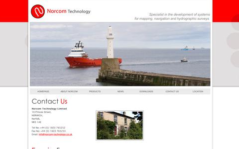 Screenshot of Contact Page norcom-technology.co.uk - Contact Norcom Technology Limited specialising in development of systems for mapping, navigation and hydrographic survey. - captured Oct. 18, 2018