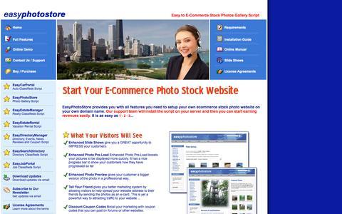 Screenshot of Home Page easyphotostore.com - Welcome to EasyPhotoStore.com - Start Your E-Commerce Photo Stock Website - captured Sept. 22, 2014