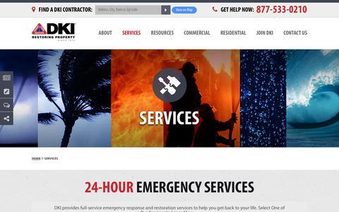 Screenshot of Services Page dkiservices.com - 24-Hour Emergency Services | DKI Disaster Restoration | DKIServices.com - captured Sept. 20, 2018