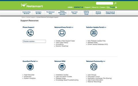 Screenshot of Support Page ntst.com - Contact Netsmart Technologies Support | NTST Practice Management - captured Jan. 15, 2016