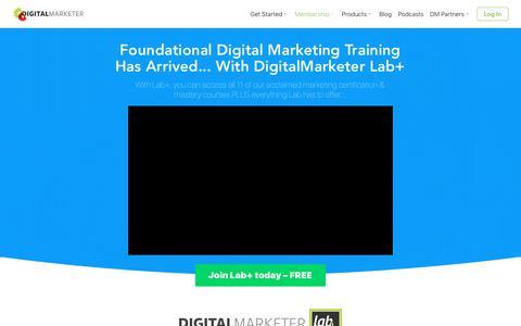 Screenshot of Signup Page digitalmarketer.com - Lab Plus | DigitalMarketer - captured July 19, 2018