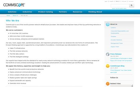 Screenshot of About Page commscope.com - Who We Are - captured July 21, 2014