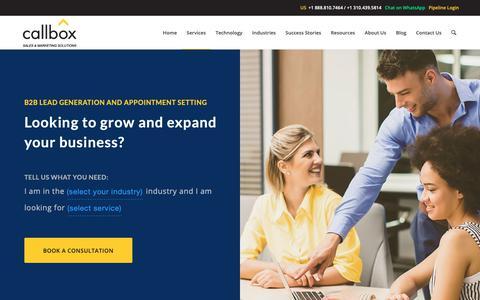 Screenshot of Services Page callboxinc.com - Callbox: B2B Lead Generation Services - Generate Warm Sales Leads - captured Nov. 12, 2018