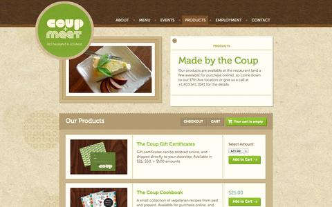 Screenshot of Products Page thecoup.ca - Products - The Coup + Meet - captured Oct. 26, 2014