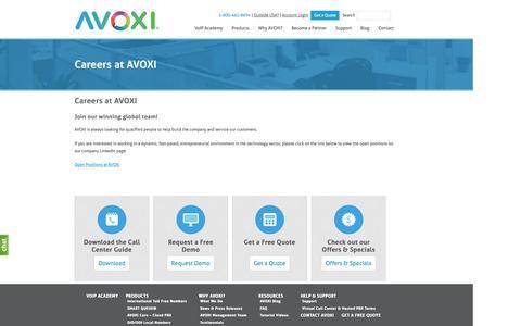 Screenshot of Jobs Page avoxi.com - Careers at AVOXI | Virtual Call Center Solutions - captured Sept. 23, 2014