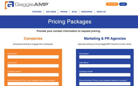 Pricing Plans for Social Media Amplification Platform GaggleAMP