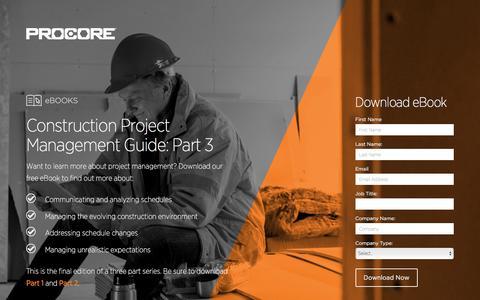 Screenshot of Landing Page procore.com - Construction Project Management Guide: Part 3 - captured March 15, 2016