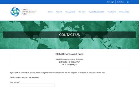 Screenshot of Contact Page globalenvironmentfund.com - Contact Us | Global Environment Fund (GEF) - captured July 19, 2018