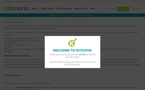 Screenshot of Privacy Page kitchfix.com - Kitchfix Foods -  Privacy Policy  - Kitchfix - captured June 9, 2017