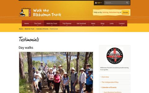Screenshot of Testimonials Page bibbulmuntrack.org.au - Testimonials | Calendar of Events | Bibbulmun Track - captured Dec. 18, 2018