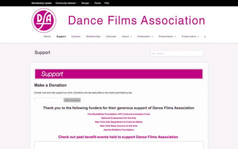 Screenshot of Support Page dancefilms.org - Support - Dance Films Association - captured Oct. 5, 2014