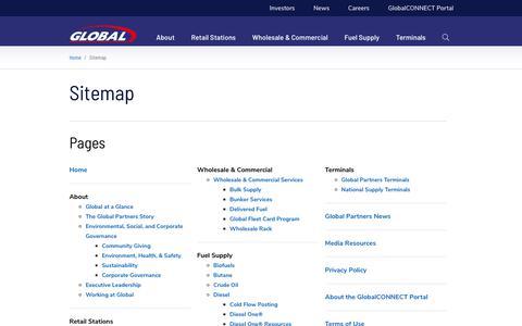 Screenshot of Site Map Page globalp.com - Sitemap - Global Partners LP - captured Jan. 12, 2020