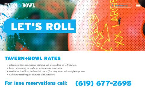 Screenshot of Pricing Page tavernbowl.com - Bowling Prices and Lane Rates, East Village Tavern+Bowl - captured July 13, 2017