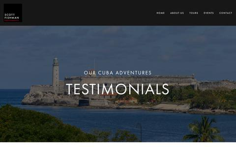 Screenshot of Testimonials Page fishmanphotography.com - CUBA - TESTIMONIALS | Scott Fishman Photography, Inc. (Chicago, IL) - captured Oct. 2, 2018