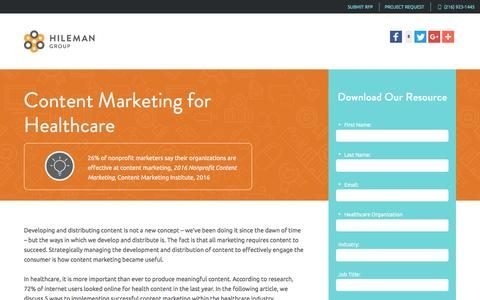 Screenshot of Landing Page hilemangroup.com - Content Marketing for Healthcare - captured May 30, 2017
