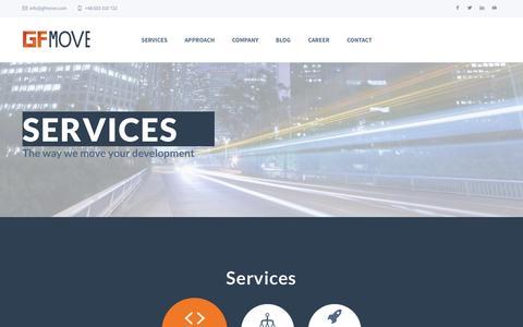Screenshot of Services Page gfmove.com - Services - GFmove | The way we move your development - captured Sept. 29, 2014