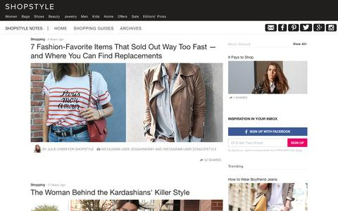 Screenshot of Blog shopstyle.com - ShopStyle Notes - captured Sept. 30, 2015