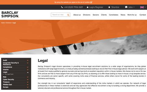 Screenshot of Terms Page barclaysimpson.com - Legal | Barclay Simpson UK Recruitment Consultancy - captured April 28, 2018