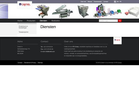 Screenshot of Services Page cretel.be - Diensten    Cretel nv - captured Sept. 30, 2018