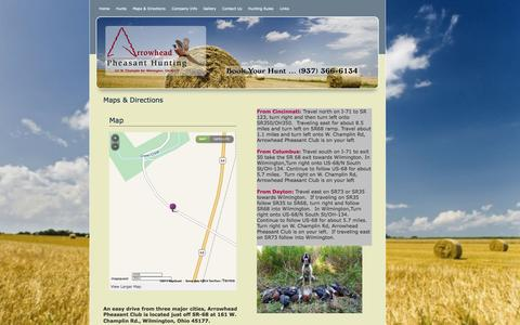 Screenshot of Maps & Directions Page arrowheadpheasantclub.com - Maps & Directions, Arrowhead Pheasant Club - captured Sept. 30, 2014