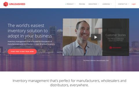 Screenshot of Home Page unleashedsoftware.com - Inventory Management Software - Unleashed Software - captured Sept. 27, 2018