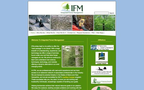 Screenshot of Home Page ifmgt.com - Integrated Forest Management; forest management, consulting forester, turner, maine   » Home - captured Oct. 6, 2014