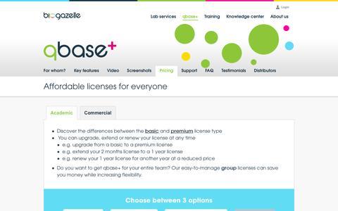 Screenshot of Pricing Page biogazelle.com - Affordable licenses for everyone | Biogazelle - captured Sept. 30, 2014