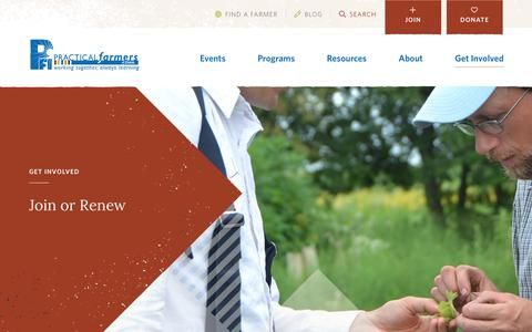 Screenshot of Signup Page practicalfarmers.org - Join or Renew - Practical Farmers of Iowa - captured Dec. 15, 2018