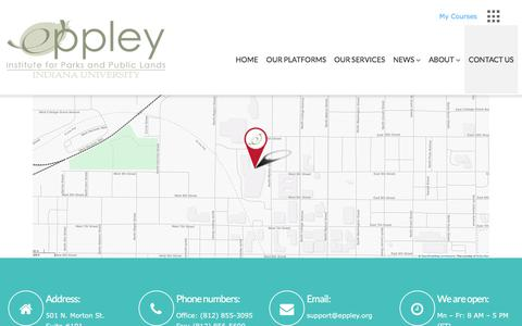 Screenshot of Contact Page eppley.org - Contact Us – Eppley Institute - captured Aug. 14, 2017
