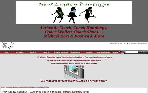 Screenshot of About Page newlegacyboutique.net - New Legacy Boutique - Authentic Coach Handbags, Purses, Satchels Totes - captured Oct. 7, 2014