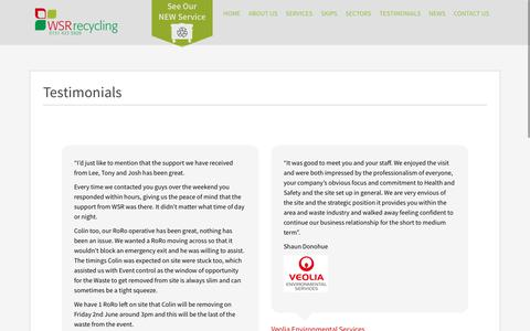 Screenshot of Testimonials Page wsrrecycling.co.uk - Testimonials - WSR Recycling - captured June 17, 2017