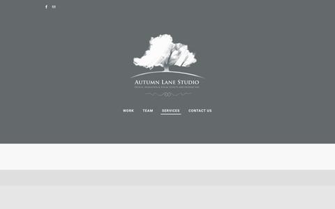 Screenshot of Services Page autumnlanestudio.com - services - Autumn Lane Studio - captured July 27, 2016