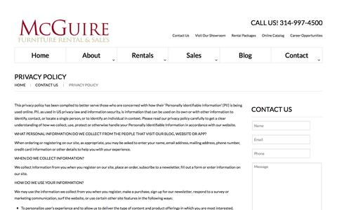 Screenshot of Privacy Page mcguirefurniturerental.com - Privacy Policy  |  McGuire Furniture - captured Nov. 28, 2016