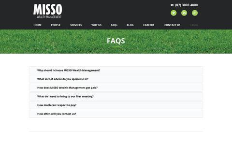 Screenshot of FAQ Page missowealth.com - FAQs - Misso Wealth Management - captured Oct. 2, 2017