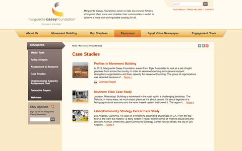Screenshot of Case Studies Page caseygrants.org - Case Studies | Marguerite Casey Foundation - captured Oct. 27, 2014