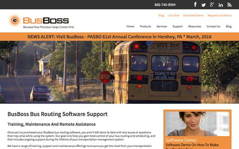 Screenshot of Support Page busboss.com - Bus Routing Software Support And Maintenance Terms - captured Feb. 14, 2016