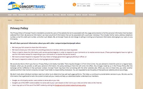 Screenshot of Privacy Page concepttravel.in - Privacy Policy – Concept Travel - captured Sept. 19, 2014