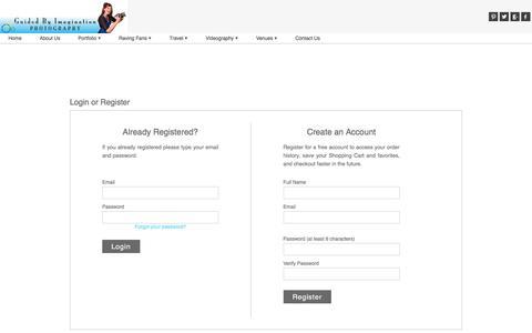 Screenshot of Login Page zenfolio.com - Guided By Imagination | Login or Register - captured July 20, 2016