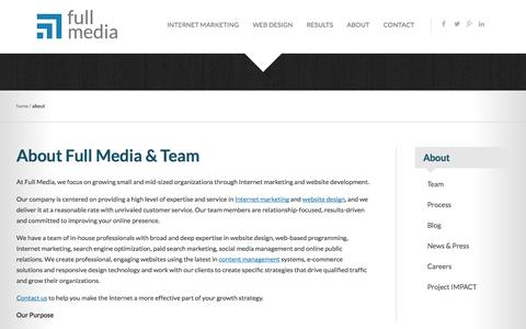 Screenshot of About Page fullmedia.com - Internet marketing and website design company | Full Media - captured Oct. 30, 2014