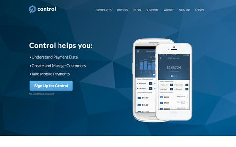 Screenshot of Home Page getcontrol.co - Control | mobile payment app | analytics for stripe - captured Nov. 3, 2015
